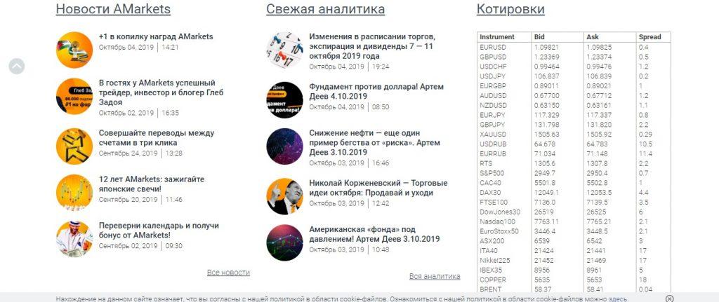Сайт компании брокера Amarkets