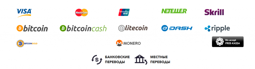 Список средств ввода и вывода финансов на Group Forex 24